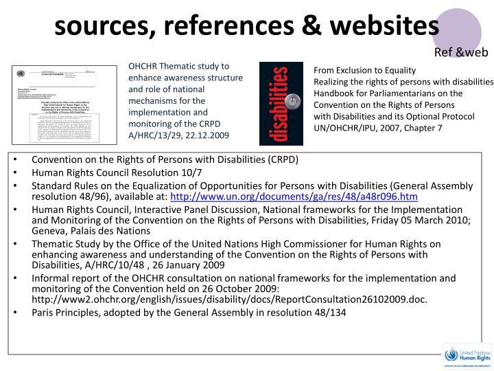 sources, references & websites