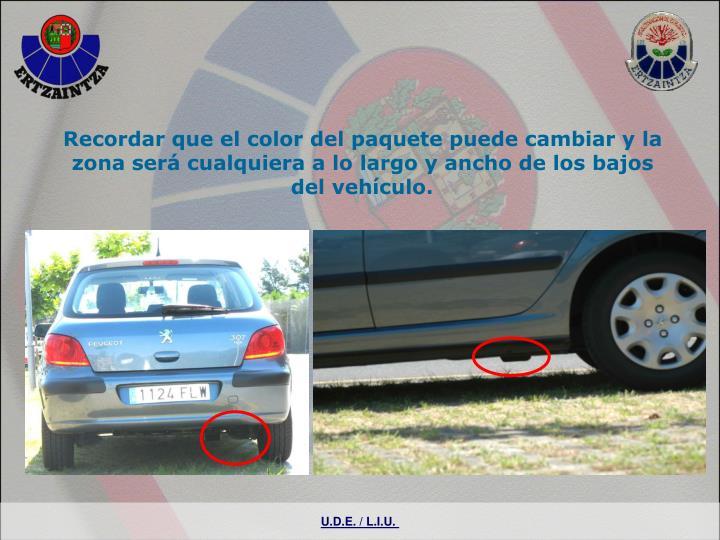 Recordar que el color del paquete puede cambiar y la zona será cualquiera a lo largo y ancho de los bajos del vehículo.