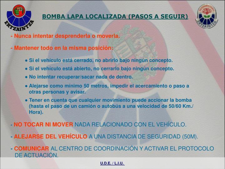 BOMBA LAPA LOCALIZADA (PASOS A SEGUIR)