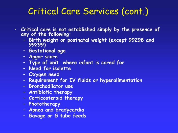 Critical Care Services (cont.)