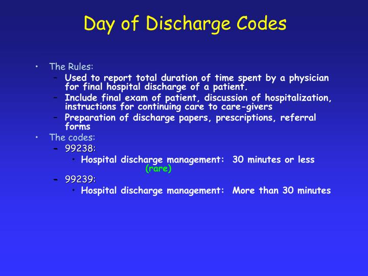 Day of Discharge Codes
