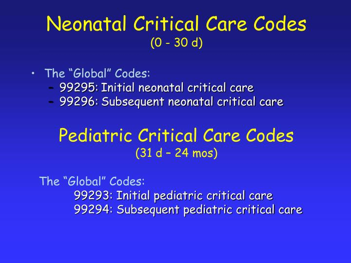 Neonatal Critical Care Codes