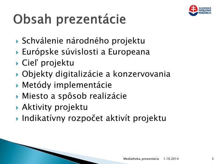 Obsah prezentácie