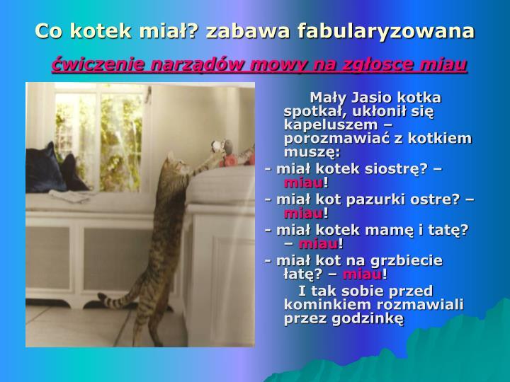 Mały Jasio kotka spotkał, ukłonił się kapeluszem – porozmawiać z kotkiem muszę: