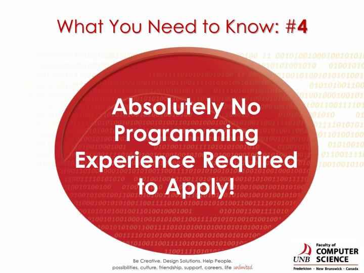 Absolutely No Programming Experience Required to Apply!