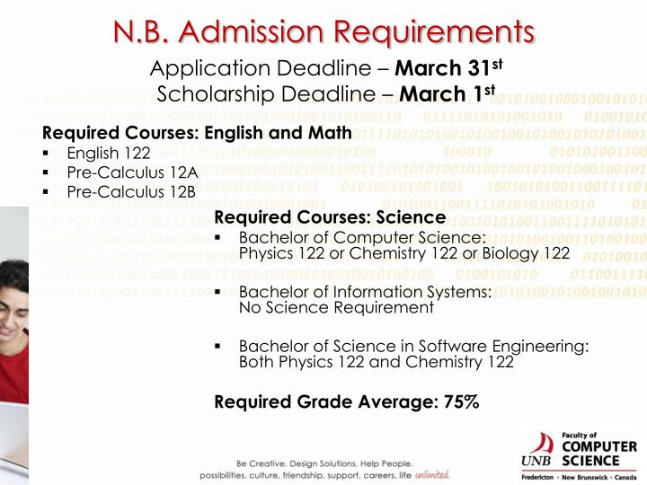 N.B. Admission Requirements