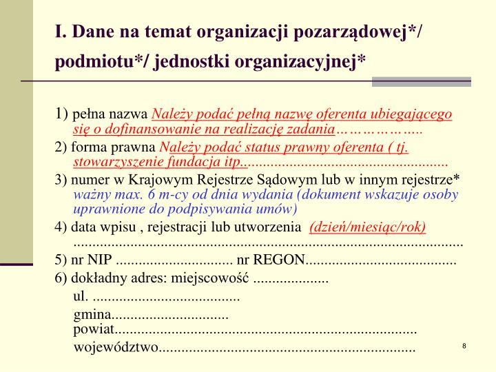 I. Dane na temat organizacji pozarządowej*/ podmiotu*/ jednostki organizacyjnej*