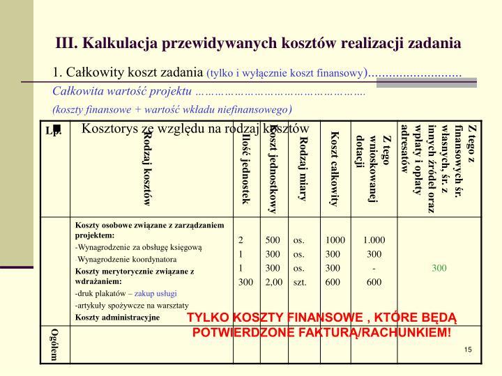 III. Kalkulacja przewidywanych kosztów realizacji zadania