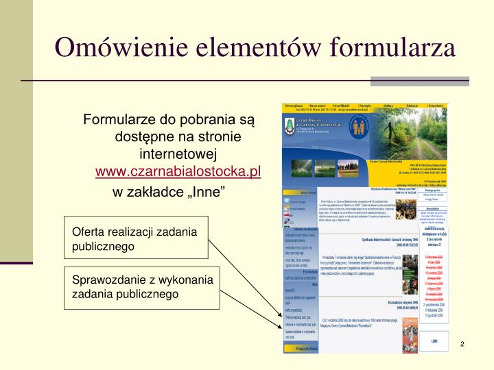 Omówienie elementów formularza