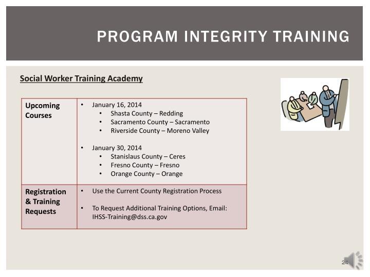 PROGRAM INTEGRITY TRAINING