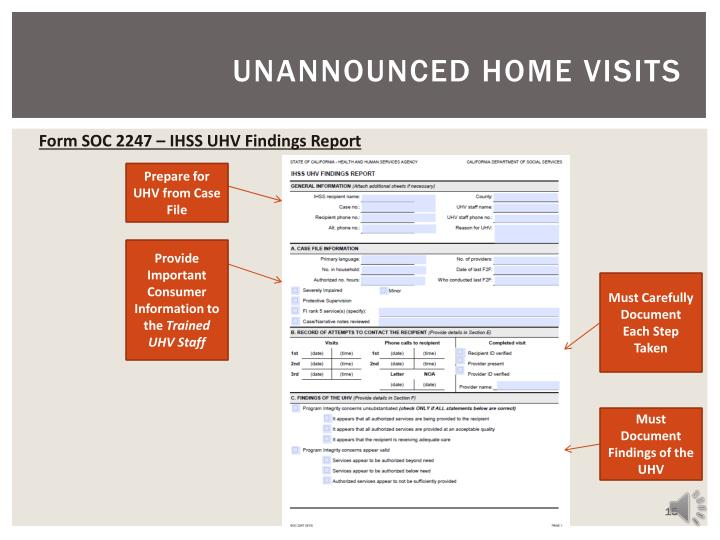 Unannounced home visits