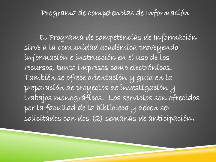 Programa de competencias de Información