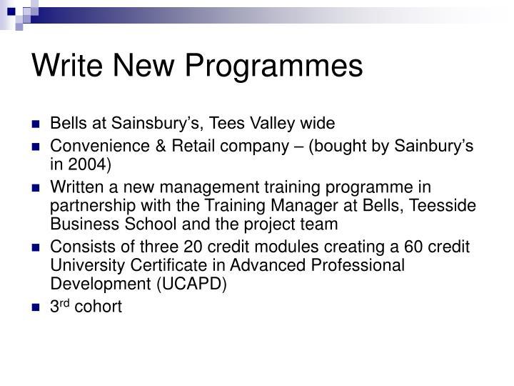 Write New Programmes