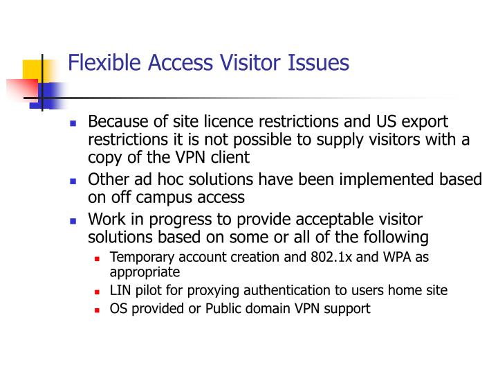 Flexible Access Visitor Issues