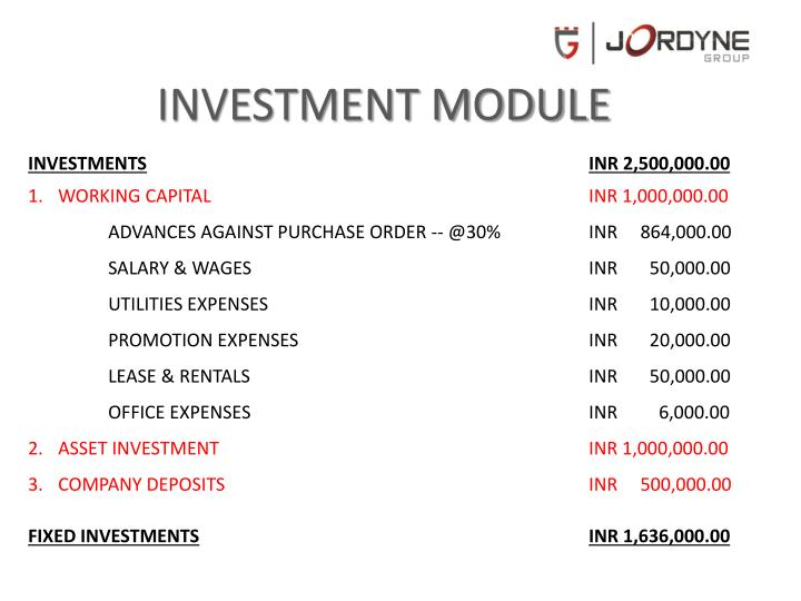 INVESTMENT MODULE