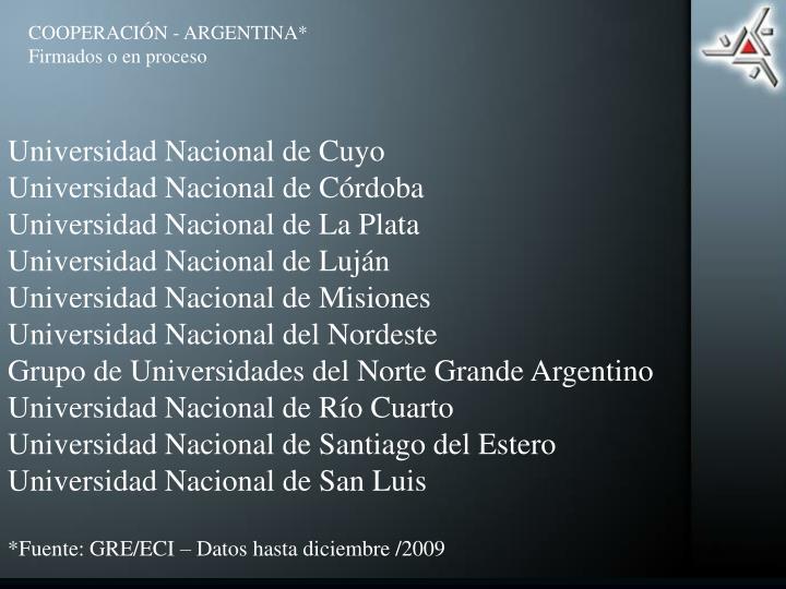 COOPERACIÓN - ARGENTINA*