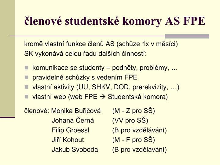 členové studentské komory AS FPE