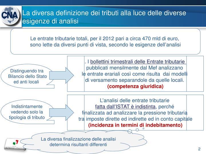 La diversa definizione dei tributi alla luce delle diverse esigenze di analisi