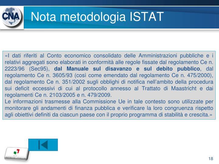 Nota metodologia ISTAT