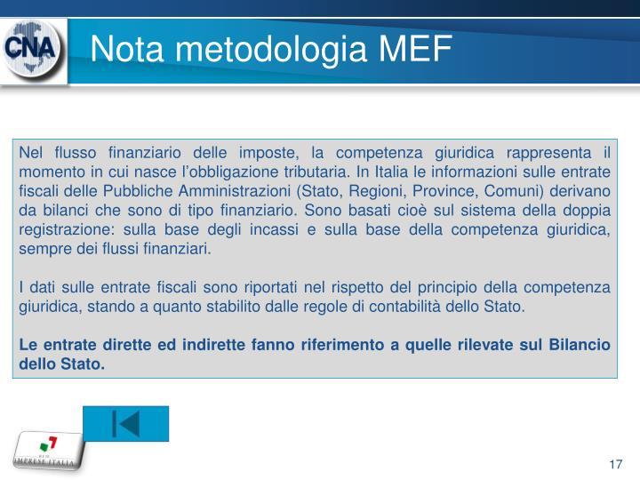 Nota metodologia MEF