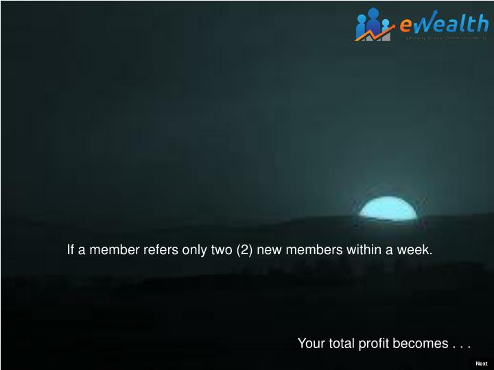 If a member refers only two (2) new members within a week.