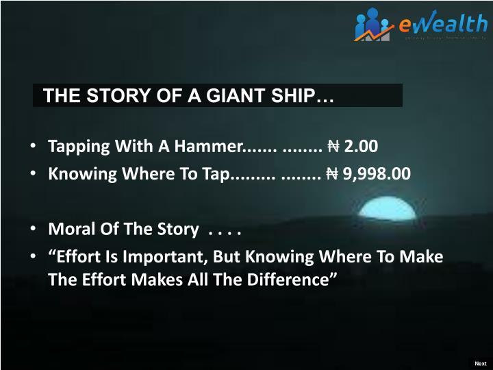 THE STORY OF A GIANT SHIP…