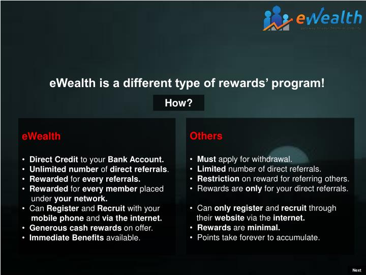 eWealth is a different type of rewards' program!