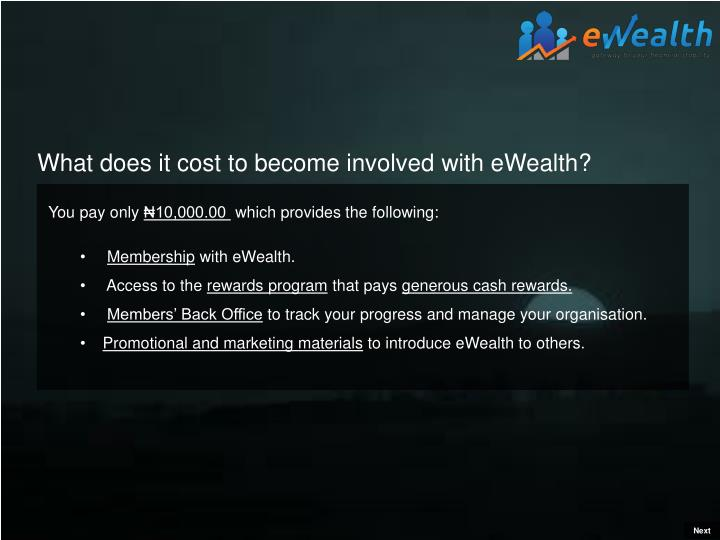 What does it cost to become involved with eWealth?