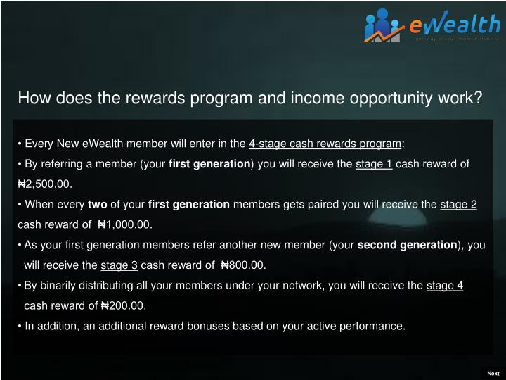 How does the rewards program and income opportunity work?