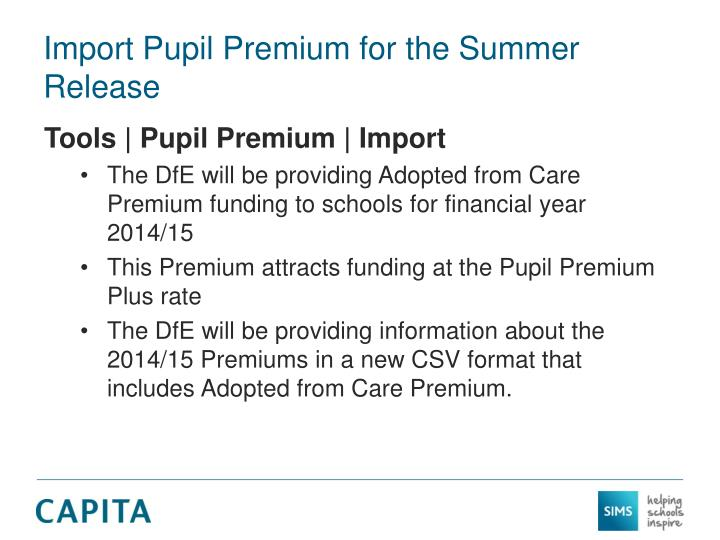 Import Pupil Premium for the Summer Release