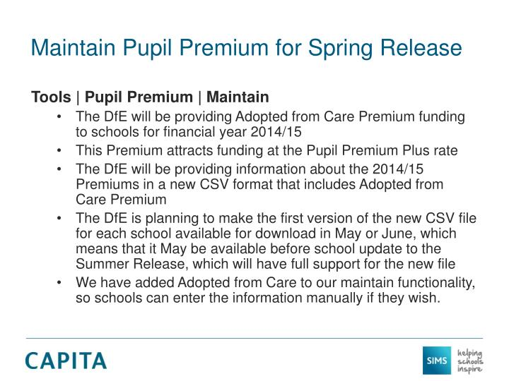 Maintain Pupil Premium for Spring Release