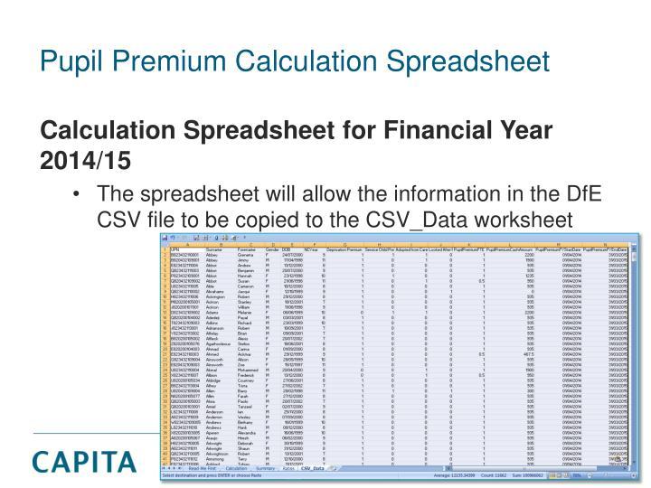 Pupil Premium Calculation Spreadsheet