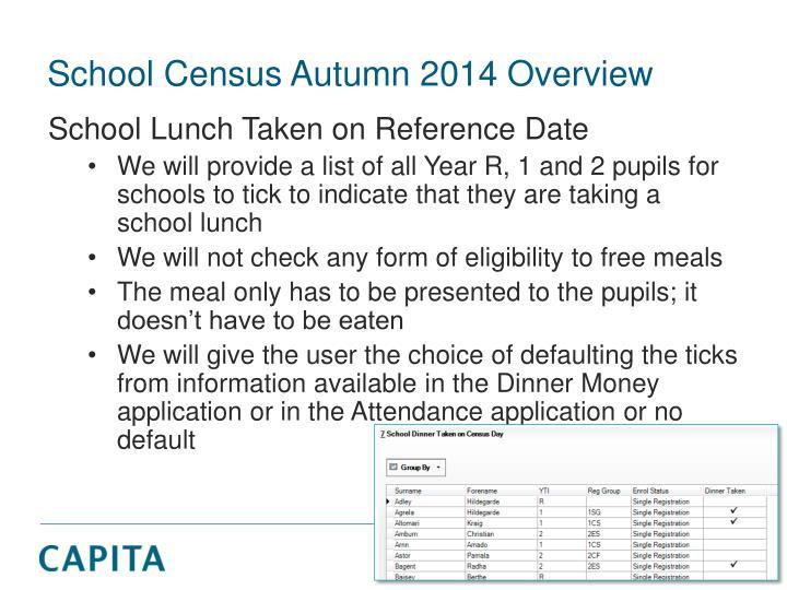 School Census Autumn 2014 Overview