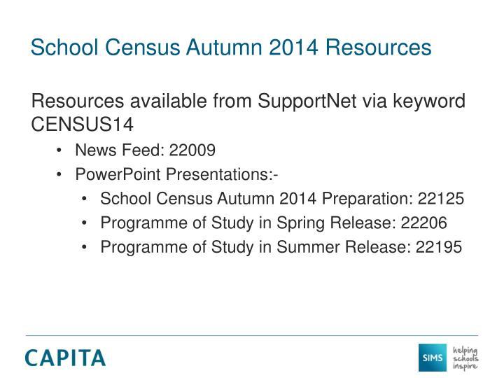 School Census Autumn 2014 Resources