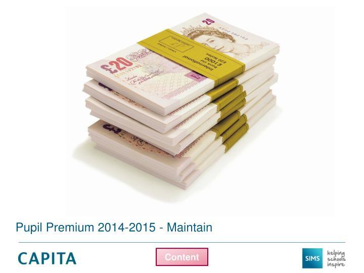 Pupil Premium 2014-2015 - Maintain