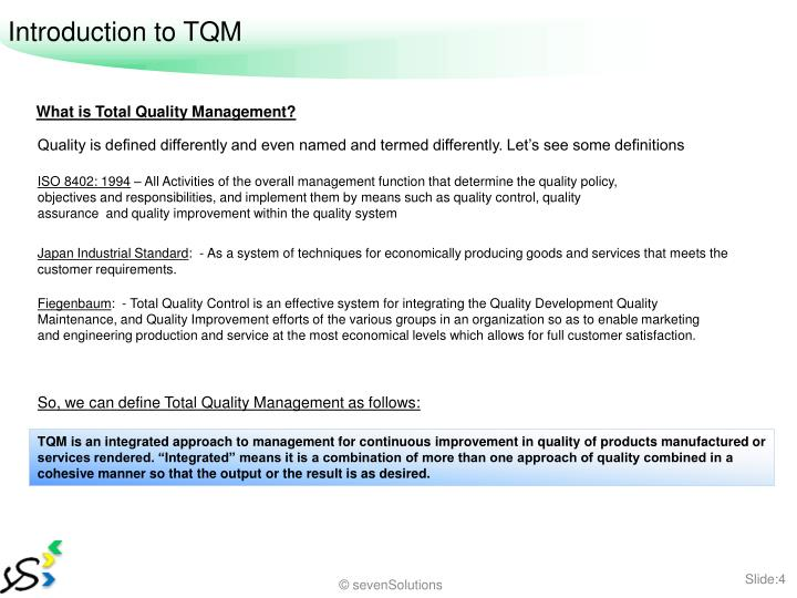 Introduction to TQM
