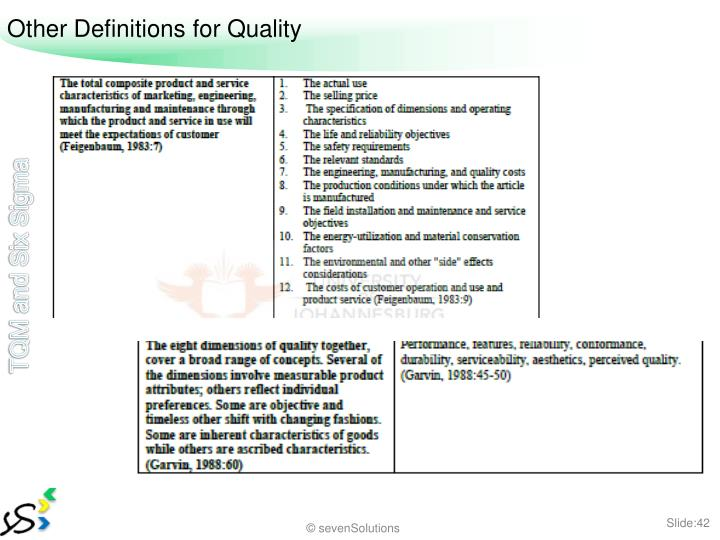 Other Definitions for Quality
