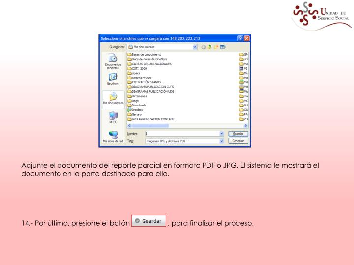 Adjunte el documento del reporte parcial en formato PDF o JPG. El sistema le mostrará el documento en la parte destinada para ello.