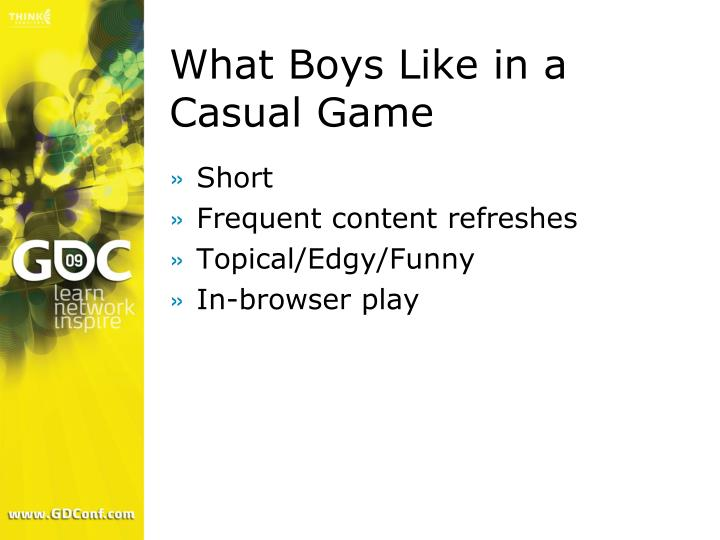 What Boys Like in a Casual Game
