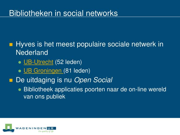 Bibliotheken in social networks