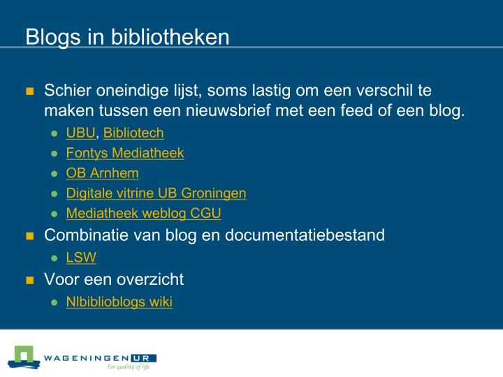 Blogs in bibliotheken