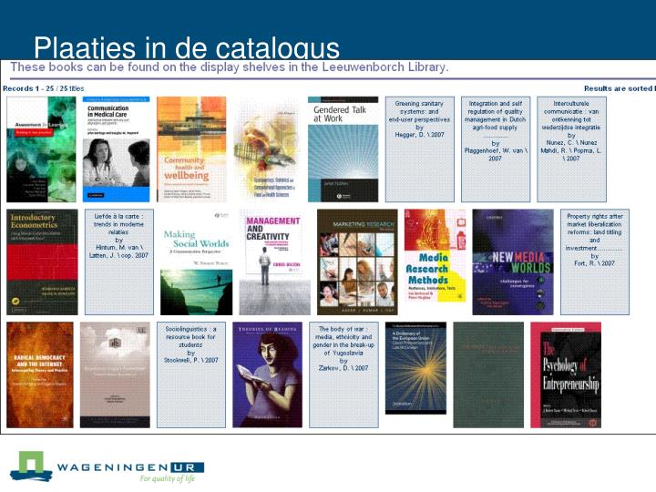 Plaatjes in de catalogus