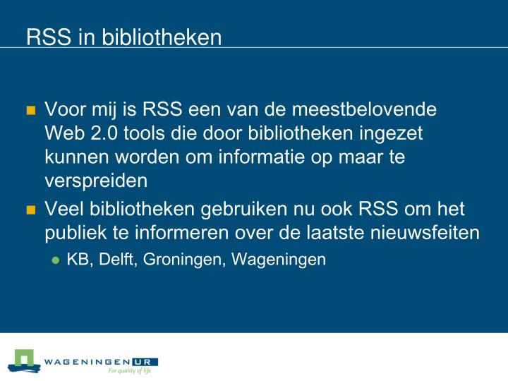 RSS in bibliotheken