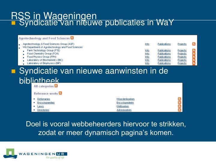 RSS in Wageningen