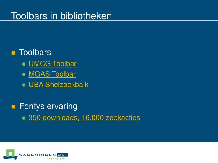Toolbars in bibliotheken