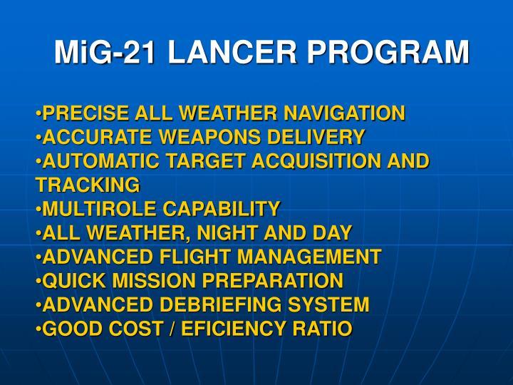 MiG-21 LANCER PROGRAM