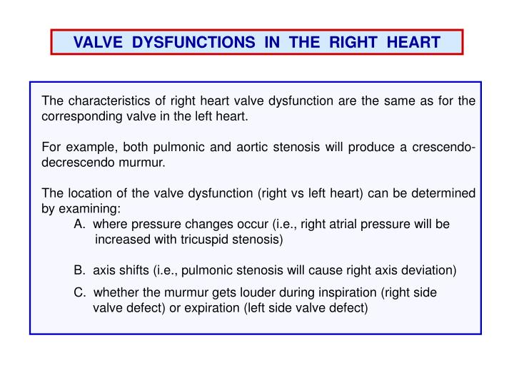 VALVE  DYSFUNCTIONS  IN  THE  RIGHT  HEART