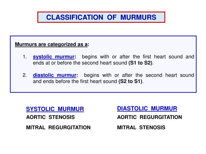 CLASSIFICATION  OF  MURMURS