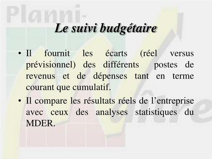 Le suivi budgétaire