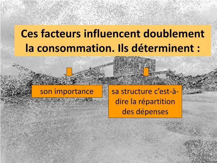 Ces facteurs influencent doublement la consommation. Ils déterminent :